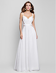 A-Line Princess V-neck Floor Length Chiffon Formal Evening Military Ball Dress with Beading Draping by TS Couture®