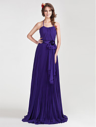 cheap -A-Line / Princess Halter Neck / Spaghetti Strap Floor Length Chiffon Bridesmaid Dress with Bow(s) / Draping / Sash / Ribbon by LAN TING BRIDE®