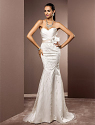 cheap -Mermaid / Trumpet Sweetheart Sweep / Brush Train Satin Tulle Wedding Dress with Beading Flower by LAN TING BRIDE®
