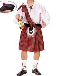 cheap -Scottish Cosplay Costume / Party Costume Men's Halloween / Carnival / New Year Festival / Holiday Halloween Costumes Red / White Plaid