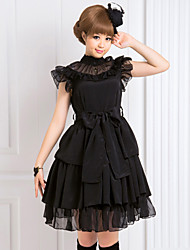 cheap -One-Piece/Dress Gothic Lolita Lolita Cosplay Lolita Dress Black Solid Turtleneck Sleeveless Knee-length Dress For Women Chiffon
