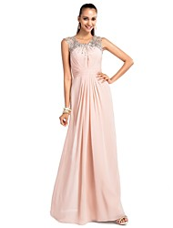 cheap -Sheath / Column Jewel Neck Floor Length Chiffon Prom / Formal Evening Dress with Beading Ruched by TS Couture®
