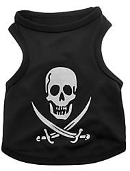 Cani T-shirt Nero Abbigliamento per cani Estate Primavera/Autunno Teschi Divertente Halloween