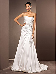cheap -A-Line Princess Sweetheart Court Train Satin Chiffon Custom Wedding Dresses with Sash / Ribbon Criss-Cross by LAN TING BRIDE®