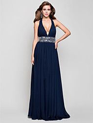 Sheath / Column Halter V-neck Floor Length Chiffon Prom Formal Evening Military Ball Dress with Beading Draping by TS Couture®