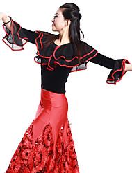 abordables -Hauts(Blanc,Viscose,Danse latine)Danse latine- pourFemme Entraînement Danse de Salon