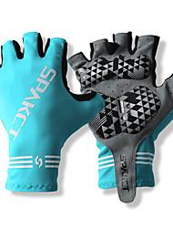 SPAKCT S13G03 poliéster durável e Vinylal Materiais Meio Dedo Luvas Design for Ciclismo Bicicleta Azul