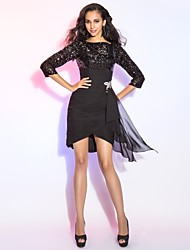 cheap -Sheath / Column Bateau Neck Short / Mini Chiffon Sequined Cocktail Party Dress with Ruched Ruffles by TS Couture®