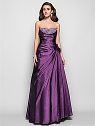 A-Line Princess Strapless Floor Length Taffeta Prom Formal Evening Military Ball Dress with Beading Flower(s) Side Draping by TS Couture®