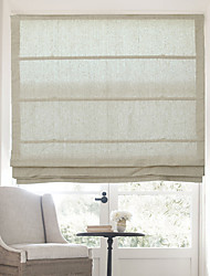 cheap -Classic Cotton Linen Solid Roman Shade