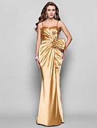 cheap -A-Line Princess Spaghetti Straps Sweetheart Floor Length Stretch Satin Prom Dress with Flower by TS Couture®