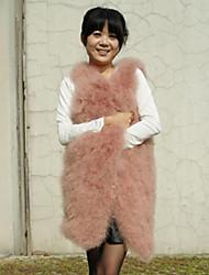 gilet di pelliccia struzzo con colletto di pelliccia casual / gilet partito (più colori)