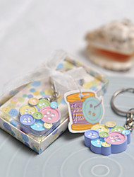 Multicolor Botton Shaped Key Ring Favor In Box