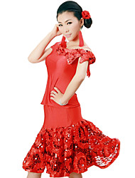cheap -Latin Dance Outfits Women's Training Viscose Flower(s) Sequins Natural