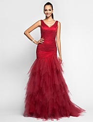 Mermaid / Trumpet V-neck Sweep / Brush Train Tulle Prom Formal Evening Military Ball Dress with Criss Cross Ruffles by TS Couture®