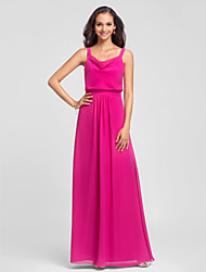 Sheath / Column Straps Floor Length Chiffon Bridesmaid Dress with Draping by LAN TING BRIDE®