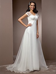 cheap -A-Line V Neck Court Train Lace Organza Custom Wedding Dresses with Beading by LAN TING BRIDE®