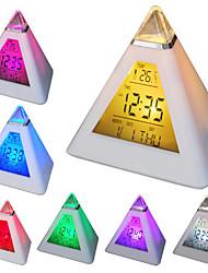 7 led a forma di colori che cambiano piramide sveglia digitale termometro calendario orologio (bianco, 3xAAA)