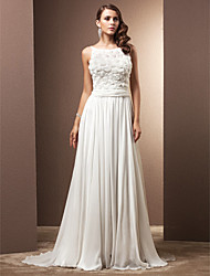 cheap -A-Line Jewel Neck Sweep / Brush Train Chiffon Made-To-Measure Wedding Dresses with Ruched / Flower by LAN TING BRIDE®