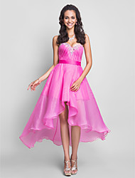 cheap -A-Line Strapless Sweetheart Knee Length Asymmetrical Organza Prom Dress with Crystal by TS Couture®