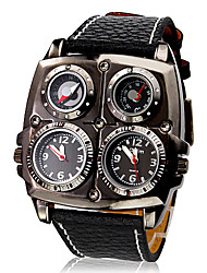 cheap -Men's Military Watch Thermometer / Compass / Dual Time Zones PU Band Charm Black