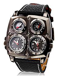 Da uomo Orologio militare Quarzo Quarzo giapponese Compass Termometri Due fusi orari PU Banda Nero