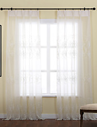 Rod Pocket Grommet Top Tab Top Double Pleat Two Panels Curtain Country , Embroidery Leaf Polyester Material Sheer Curtains Shades Home