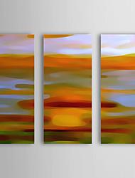 Hånd-malede Abstrakt / Abstrakt Landskab Tre Paneler Canvas Hang-Painted Oliemaleri For Hjem Dekoration