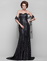 Sheath / Column Strapless Sweetheart Sweep / Brush Train Sequined Mother of the Bride Dress with Sequins by AIMITE