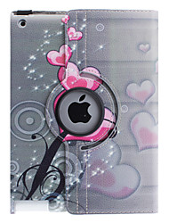 cheap -360 degree rotatable PU leather full body case with stand for iPad 2/3/4(Heart-Shaped Flower Pattern)