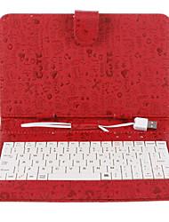 7 pulgadas Graffity garrapatea caja de la PU del patrón con el teclado USB y el soporte
