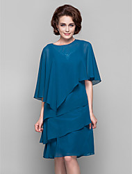 Sleeveless Chiffon Wedding Party Evening Women's Wrap With Button Draped Capelets