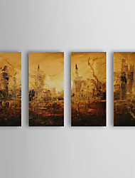 cheap -Hand-Painted Abstract / Abstract Landscape Four Panels Canvas Oil Painting For Home Decoration