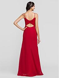 cheap -Sheath / Column Spaghetti Straps Floor Length Chiffon Bridesmaid Dress with Criss Cross by LAN TING BRIDE®