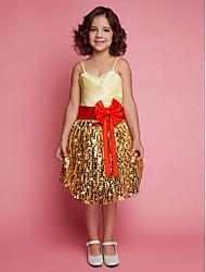 Vestito dalla ragazza di fiore di lunghezza del ginocchio dell'abito di sfera - cinghie senza spalline sleeveless del raso del merletto