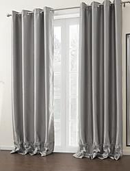 baratos -twopages® dois painéis de prata moderno quarto escurecendo cortina sólida