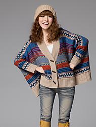 Feminino chifre de boi botão Cabo manga do casaco de lã (1)