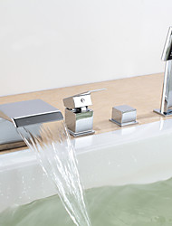 Contemporary Wall Mounted Waterfall with  Ceramic Valve Four Holes Two Handles Four Holes for  Chrome , Bathtub Faucet