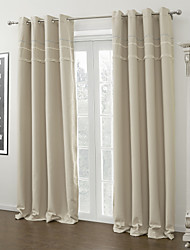 cheap -Two Panels Curtain Modern , Solid Living Room Polyester Material Blackout Curtains Drapes Home Decoration For Window