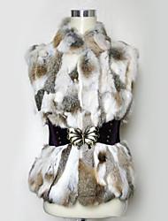 gilet di pelliccia con maniche in piedi collo di pelliccia di coniglio party / gilet informale con cintura casuale