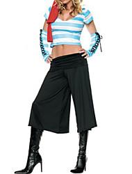 Недорогие -Привлекательный Пиратская голубые короткие топ и черные штаны Женские Хеллоуин костюм