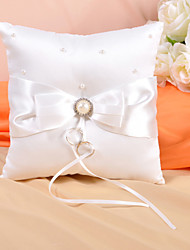 Ring Pillow In Ivory Satin With Bow And Faux Pearl Wedding Ceremony