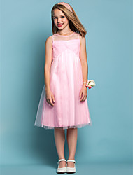 A-Line Sheath / Column Jewel Neck Knee Length Tulle Junior Bridesmaid Dress with Criss Cross by LAN TING BRIDE®