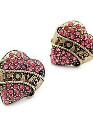 baratos -Brincos Curtos Amor Coração Moda Jóias de Luxo imitação de diamante Liga Formato de Coração Jóias Para Diário