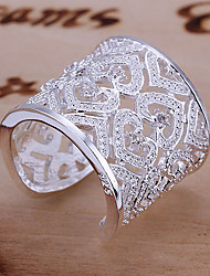 cheap -Women's Statement Rings Cuff Ring Unique Design Love Bridal Elegant Luxury Costume Jewelry Sterling Silver Rhinestone Heart Jewelry For