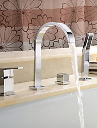 Contemporary Roman Tub Widespread with  Ceramic Valve Four Holes Two Handles Four Holes for  Chrome , Bathtub Faucet