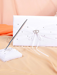 cheap -Guest Book Pen Set Satin Organza Garden ThemeWithRhinestone Bowknot