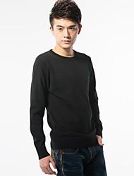 Fitspace Mænds rund hals langærmet Knitting Shirt Black