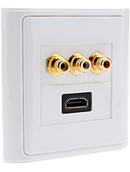 Hi-Def HDMI V1.3 + Component Female Video Wall Plate