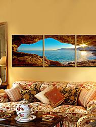 Недорогие -Пейзаж 3 панели Горизонтальная С картинкой Декор стены Украшение дома